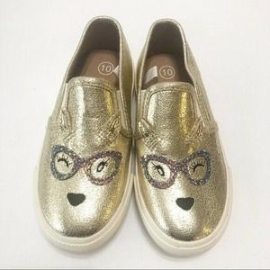 Cat and Jack Girls Gold Sparkly Slip On Sneakers